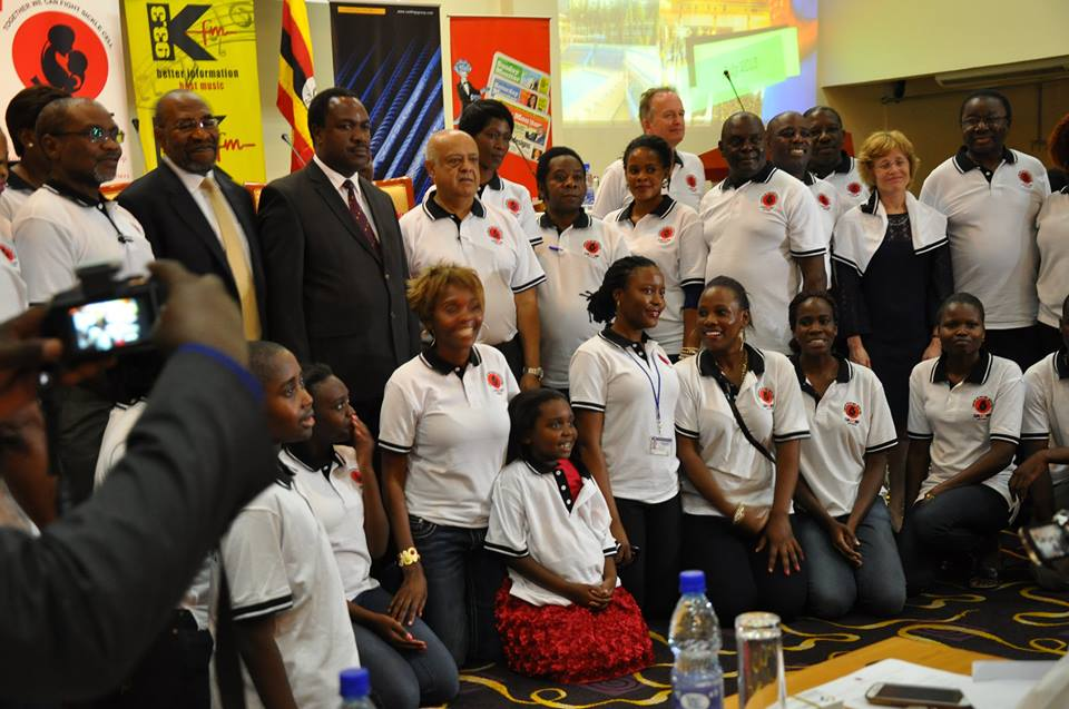 June 19th 2015 (World Sickle Cell Day). 3rd Annual Sickle Cell Conference 5500 participants. Dr. Bulaimu Muwanga Kibirige Chairperson Board of directors (extreme left), Rt. Hon Ruhakana Rugunda .The Prime Minister of the Republic of Uganda , Hon. Elioda Tumwesigwe , Minister of Health . Dr. Sikander Lalani of Roofings Group and a Board Member Uganda Sickle Cell Rescue Foundation together with other Board members , invited guests (Dr. Machiel Van den Akker from Belgium, Dr. Nancy Green from Colombia Medical Centre USA ) and sickle cell counselors